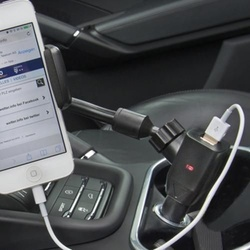 Mobile phone holder with charger