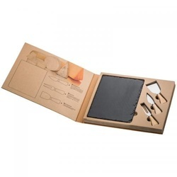 Cheese set with slate cutting board