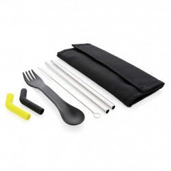 Tierra 2pcs straw and cutlery set in pouch