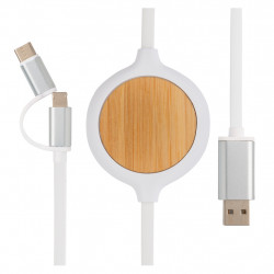 3-in-1 cable with 5W bamboo wireless charger