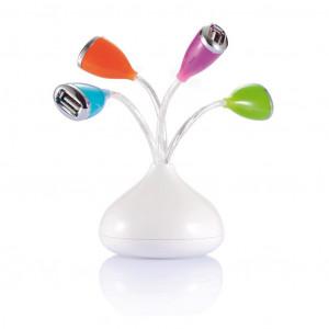 Flower 4 port USB hubs with LED light