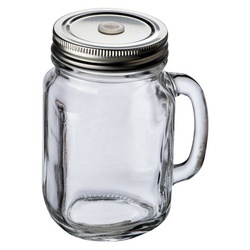 Drinking glass with handle and lid Treviso