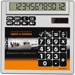 Own-design desk calculator with insert without holes