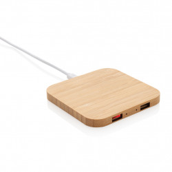 Bamboo 5W wireless charger with USB ports