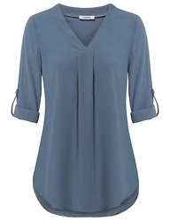Cuffed Sleeve Chiffon V Neck Blouse