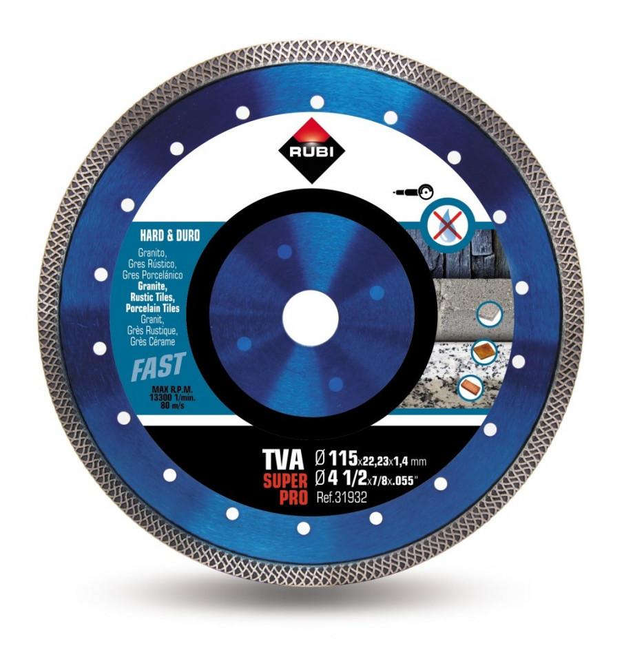 Disc diamantat pt. materiale foarte dure 115mm, TVA 115 SuperPro - RUBI-31932 imagine criano.com