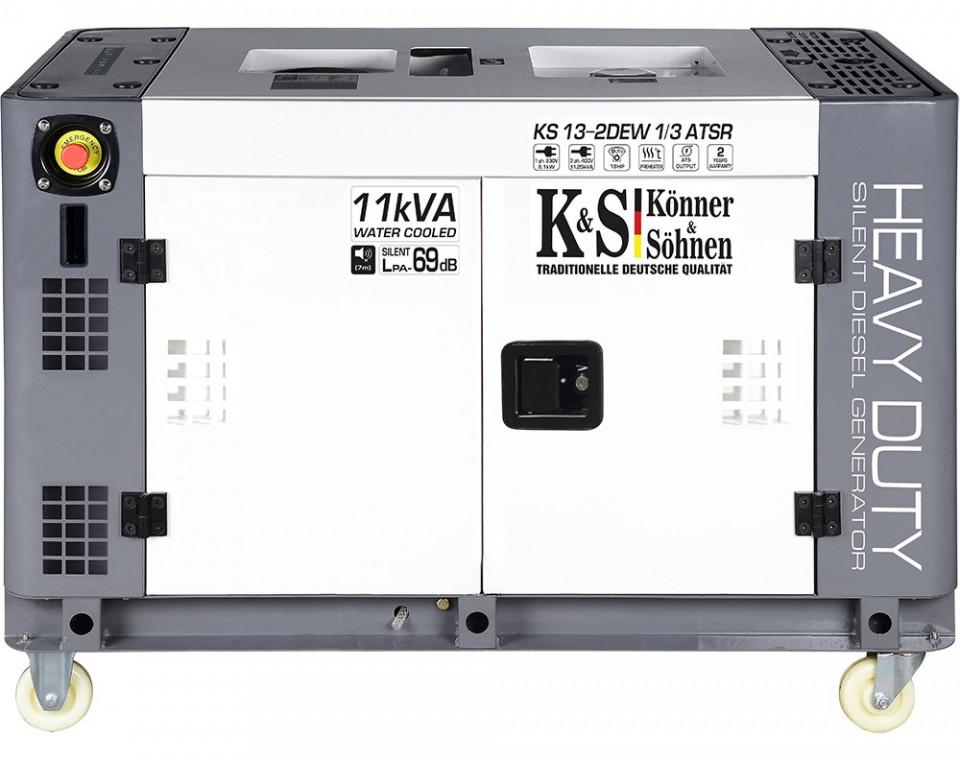Generator de curent 9 KW diesel - Heavy Duty - insonorizat - Konner & Sohnen - KS-13-2DEW-1/3-ATSR-Silent imagine criano.com