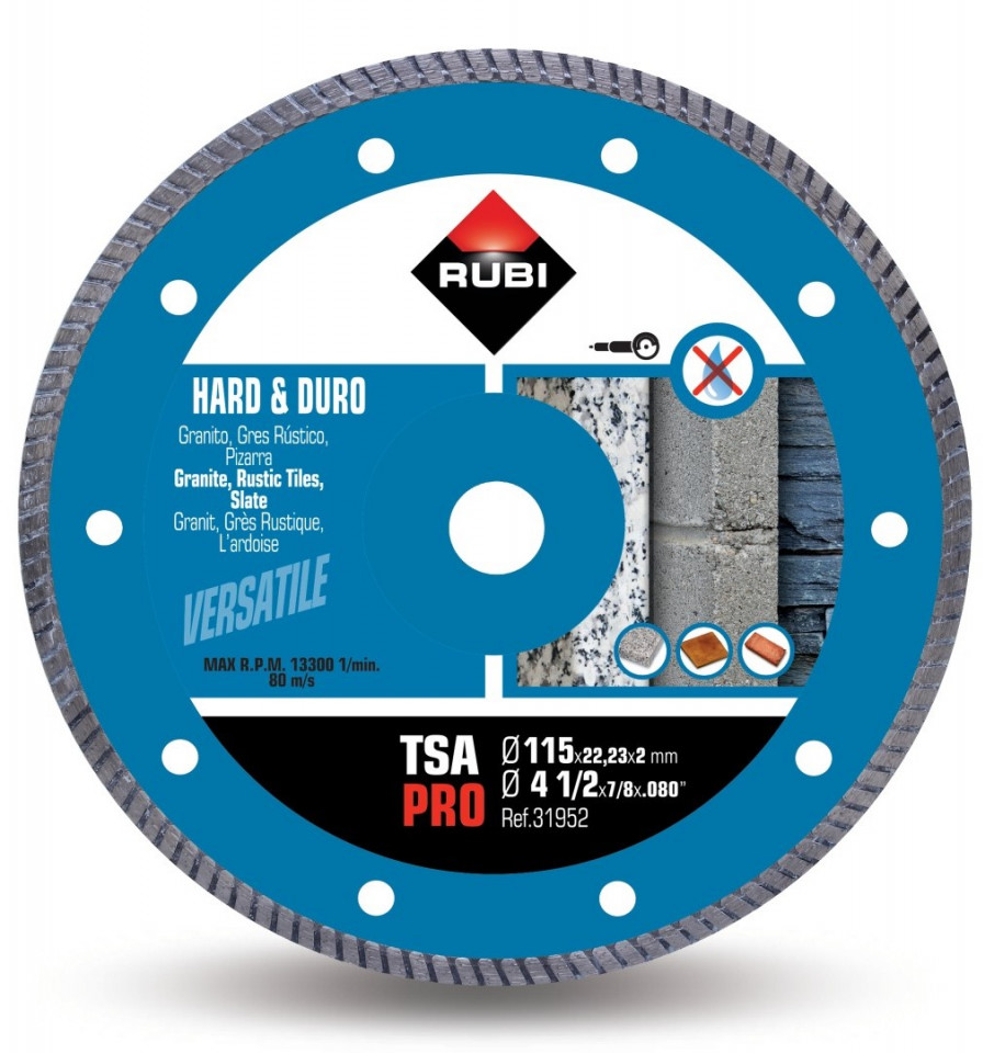 Disc diamantat pt. materiale foarte dure 115mm, TSA 115 Pro - RUBI-31952 imagine criano.com