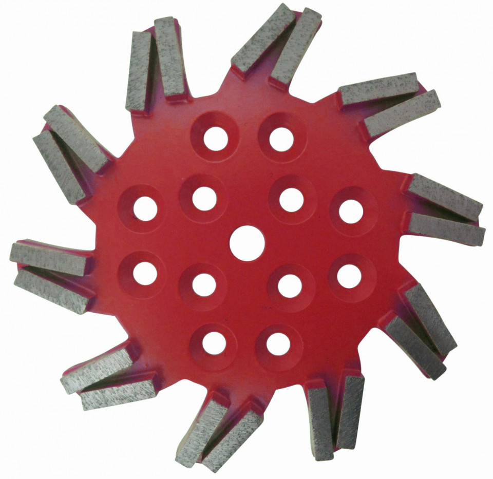 Disc stea cu segmenti diamantati pt. slefuire pardoseli - segment fin - Rosu - 250 mm - prindere 19mm - DXDH.8501.250.11.63 imagine criano.com