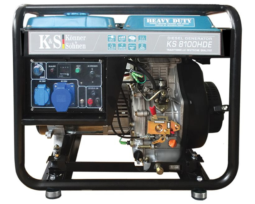 Generator de curent 6.5 kW diesel - Heavy Duty - Konner & Sohnen - KS-8100DE-HD imagine criano.com