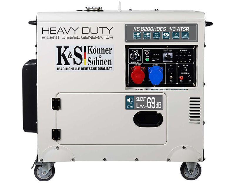 Generator de curent 6.5 kW diesel - Heavy Duty - insonorizat - Konner & Sohnen - KS-8200DE-1/3-HD-ATSR imagine criano.com