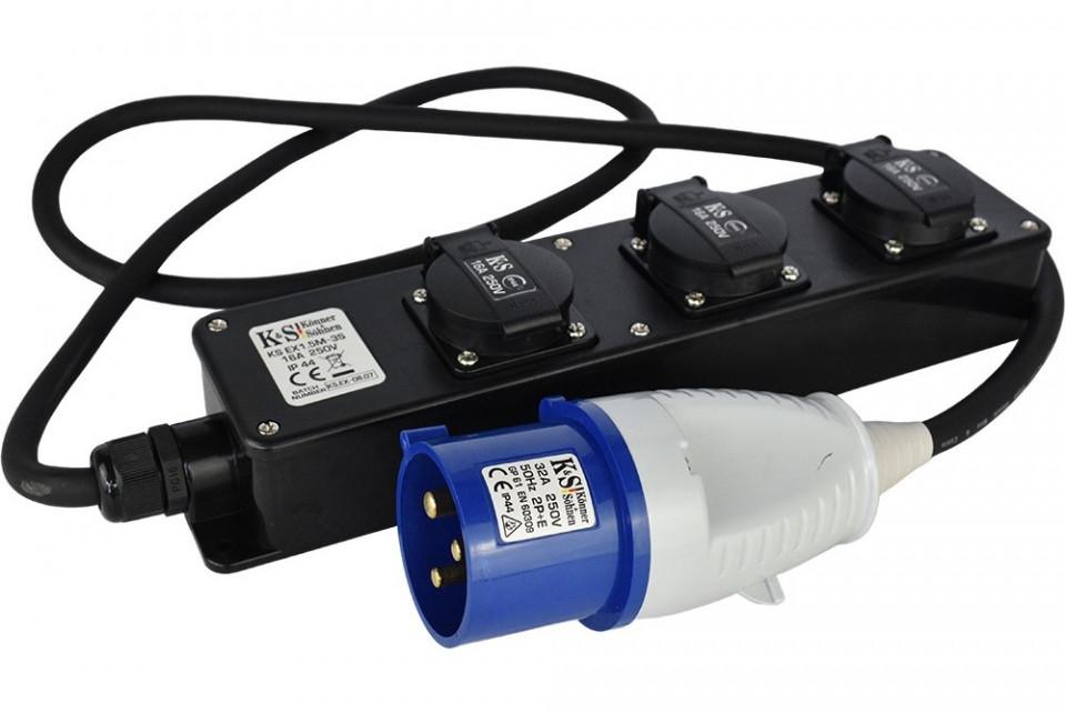 Prelungitor 230V Stecher Euro - 3x Priza Casnica - max 5000W - KS-EX1.5M-3S imagine criano.com