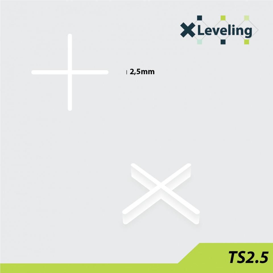 Distantieri ( Cruciulite ) pt. placi - gresie si faianta - Rost 2,5 mm - 500 buc - XLEV-TS2,5-500( 512924)