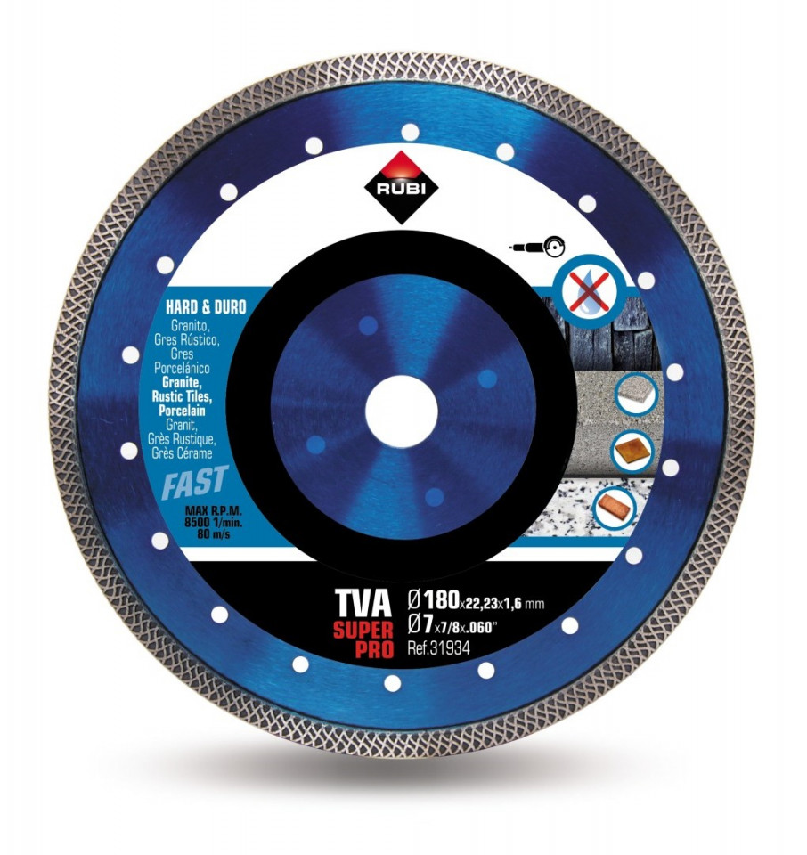 Disc diamantat pt. materiale foarte dure 180mm, TVA 180 SuperPro - RUBI-31934 imagine criano.com