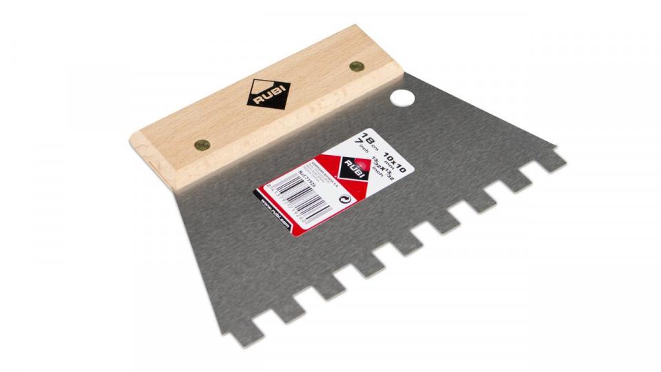 Spatula dintata cu maner din lemn 18cm, 10x10mm - RUBI-71926( 512702)