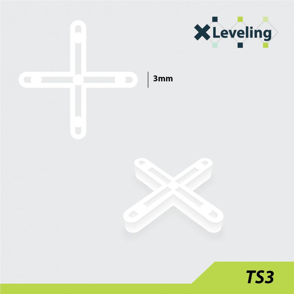 Distantieri ( Cruciulite ) pt. placi - gresie si faianta - Rost 3 mm - 500 buc - XLEV-TS3-500( 512926)
