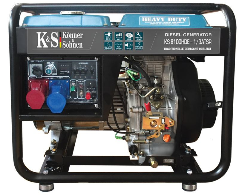 Generator de curent 6.5 kW diesel - Heavy Duty - Konner & Sohnen - KS-8100DE-1/3-HD-ATSR