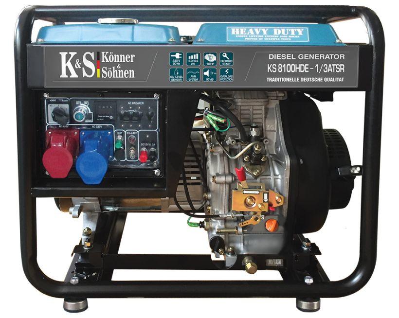 Generator de curent 6.5 kW diesel - Heavy Duty - Konner & Sohnen - KS-8100DE-1/3-HD-ATSR title=Generator de curent 6.5 kW diesel - Heavy Duty - Konner & Sohnen - KS-8100DE-1/3-HD-ATSR
