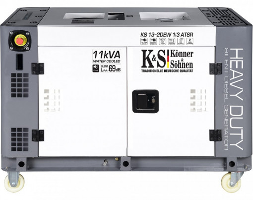 Generator de curent 9 KW diesel - Heavy Duty - insonorizat - Konner & Sohnen - KS-13-2DEW-1/3-ATSR-Silent