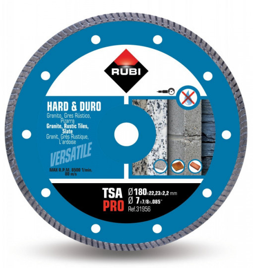 Disc diamantat pt. materiale foarte dure 180mm, TSA 180 Pro - RUBI-31956