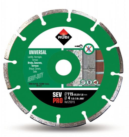 Disc diamantat pt. beton si caramida 115mm, SEV 115 Pro - RUBI-25915