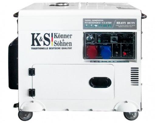 Generator de curent 7.5 kW diesel - Heavy Duty - insonorizat - Konner & Sohnen - KS-9200DE-1/3-HD-ATSR- Silent