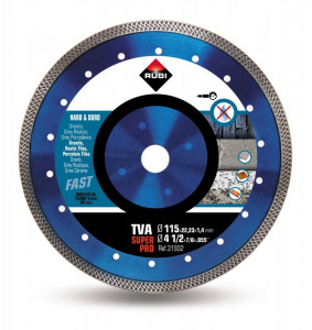 Disc diamantat pt. materiale foarte dure 115mm, TVA 115 SuperPro - RUBI-31932