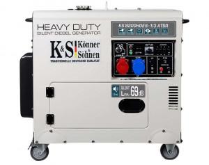 Generator de curent 6.5 kW diesel - Heavy Duty - insonorizat - Konner & Sohnen - KS-8200DE-1/3-HD-ATSR
