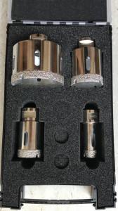 Set carote diamantate pt. gresie portelanata & piatra - diam. 20, 35, 50, 75mm Super Premium - DXDH.80407.S20-75 / 80407.Set