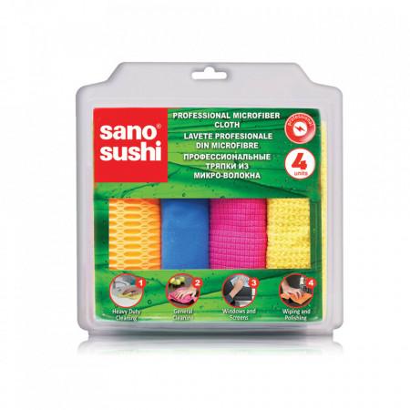 Laveta microfibra profesionala Sano Sushi 4buc diverse suprafete 7290011598365