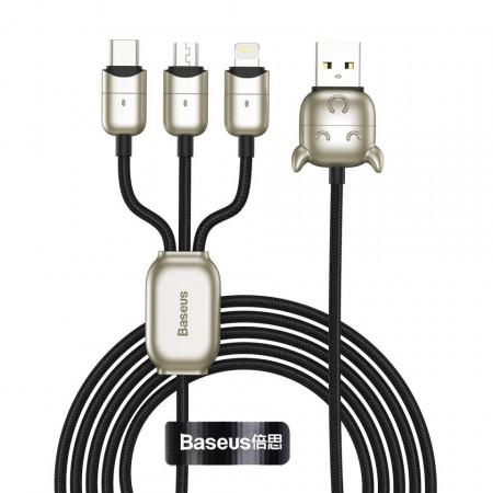 Cablu USB Baseus Year of the Ox 3in1 USB-C / Lightning / Micro 1,2m 3.5A (negru)