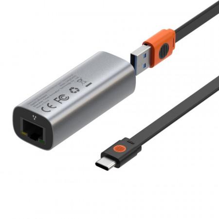 Placa retea Baseus Steel Cannon USB-C - LAN, Gigabit (gri)