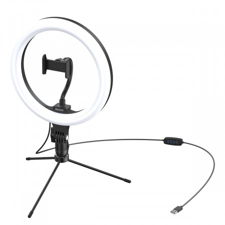 Trepied Baseus Livestream holder-table, cu lumina inel 10'' (negru)