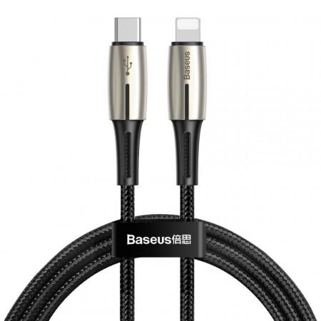 Cablu USB-C - Lightning PD Baseus Waterdrop cu LED, 18W, 1,3m (negru)