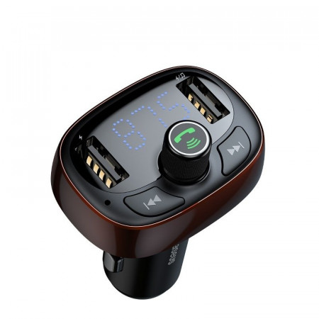 Modulator FM Baseus cu Bluetooth USB microSD (maro)
