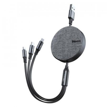 Cablu USB Baseus Fabric 3in1 USB-C / Lightning / Micro 3,5A 1,2m (gri)