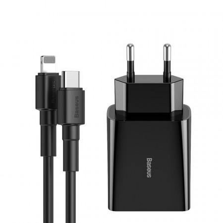 Incarcator retea USB-C PD Baseus Mini, Power Delivery 18W + cablu USB-C - Lightning 1m (negru)