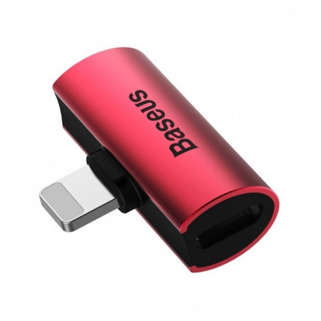 Adaptor Audio Baseus L46 Lightning la 2x Lightning (rosu-negru)
