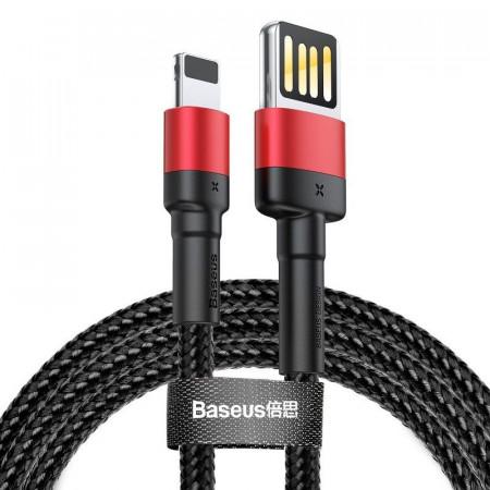 Cablu Lightning USB (USB bilateral) Baseus Cafule 2,4A 1m (negru-rosu)