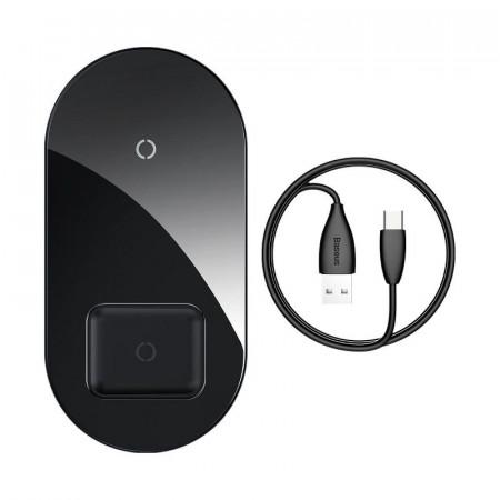 Incarcator wireless Qi 2in1 Baseus Simple 15W pt telefon si Apple Airpods (negru)