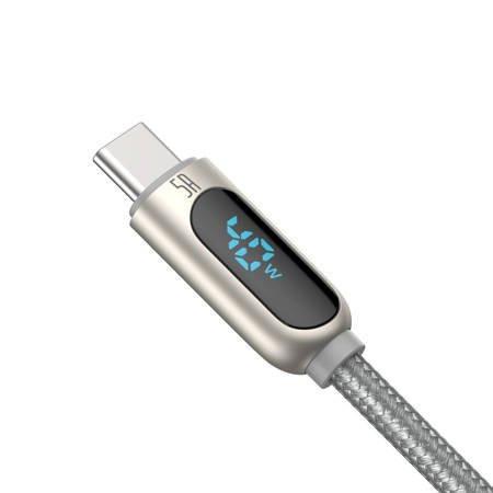 Cablu USB la USB-C Baseus Display, 5A, 40W, 1m (silver)