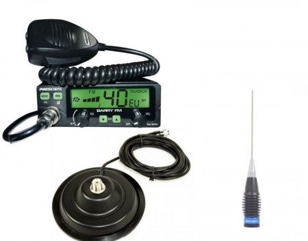 Promotie statie radio CB President Barry + antena Megawatt ML 145 + baza 145