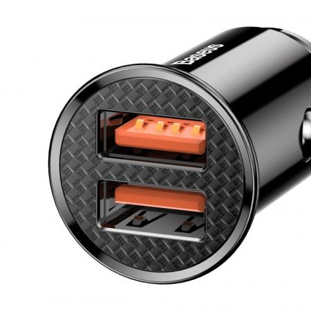 Incarcator auto Baseus Circular 2x USB QC3.0 5A 30W (negru)