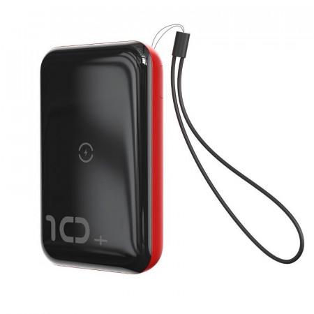 Powerbank Baseus Mini S cu incarcare wireless, 10000mAh, 18W, USB (negru-rosu)