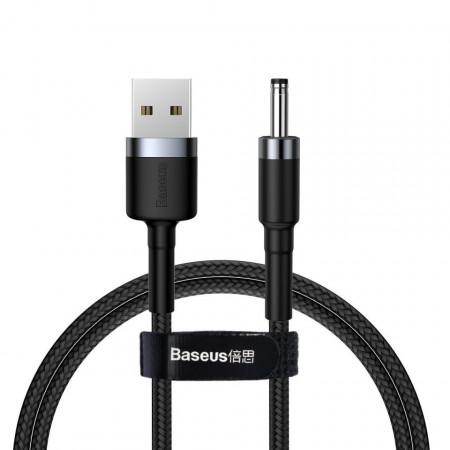 Cablu USB la DC 3,5mm Baseus Cafule, 2A, 1m (negru-gri)