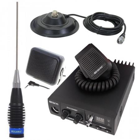 Promotie statie radio CB Storm Discovery + antena Megawatt ML145 + baza 145 + difuzor DF1