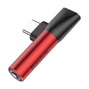 Adaptor Audio Baseus L41 USB-C la Mini Jack 3.5mm + USB-C (rosu)