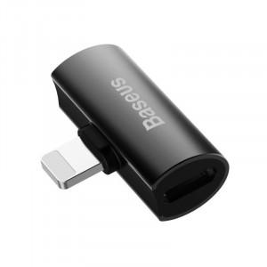 Adaptor Audio Baseus L46 Lightning la 2x Lightning (negru)