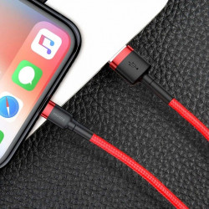 Cablu Lightning USB Baseus Cafule 2A 3m (rosu)