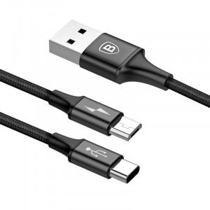 Cablu USB Baseus Rapid 2in1 Micro + USB-C 3A 1.2m (negru)